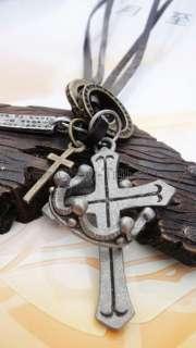 men boys Genuine leather necklace charm choker Cross / Crown pendant