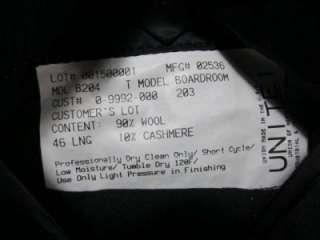 Hickey Freeman Wool & Cashmere Navy Blue Sport Coat Blazer 46L