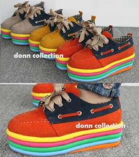 RAINBOW CANVAS PLATFORM HIGH HEELS LOAFER SNEAKERS SHOES WEDGE FLAT