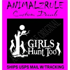 GIRL COON HUNTING LARGE DECAL 12x20 WHITE