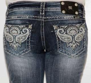 Womens MISS ME Jeans Bella Blue Paisley Boot Cut JW5123B8 Rhinestones