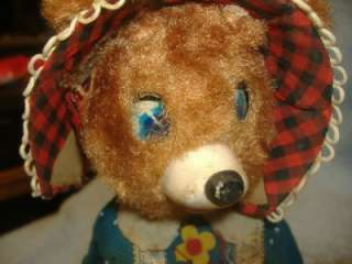 Misfit MECHANICAL BATTERY OPERATED TIN TOY HUNGRY BABY BEAR Vintage