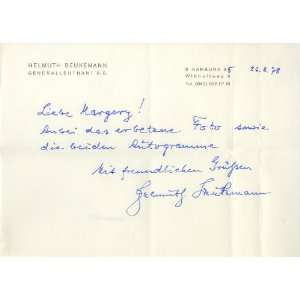 Helmuth Beukemann WWII German Generalleutnant Autographed