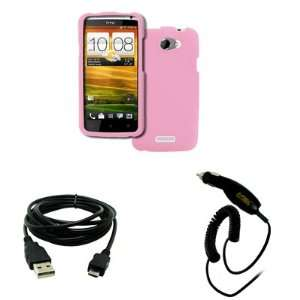 EMPIRE HTC One X Rubberized Case Cover (Pink) + USB 2.0