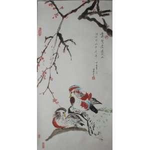 Original Chinese Brush Painting Scroll   Mandarin Duck