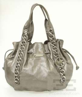 Michael Michael Kors Nickel Leather Large ID Chain Tote Bag NEW