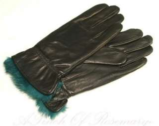 Grandoe Womens Thyme Faux Fur Cuff Metisse Leather Gloves Black Teal