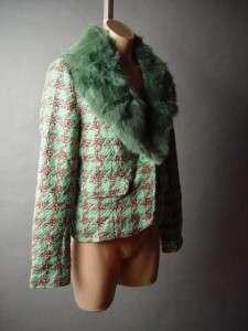 Houndstooth Pattern Classic Ladylike Tweed Blazer Jacket Coat L