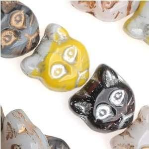 Czech Glass Beads Kitty Cat Face Mix 11.5 x 12mm (1