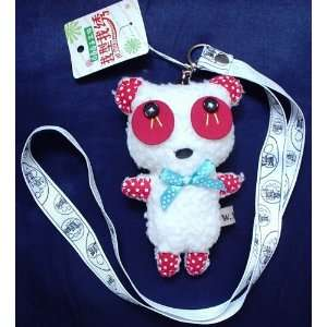 White Teddy Bear Plush Toy Keyring Phone Charm w/Lanyard