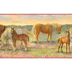 Pink Horsing Around Wallpaper Border Baby