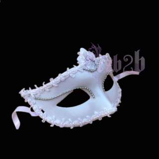 Fashion Elegant White Lady Masquerade Half Face Mask Halloween Mardi