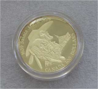 CANADA $100 DOLLARS GOLD COIN, HURON 1989 PROOF