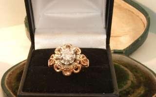 Antique 18ct gold .25ct Natural round cut Diamond Platinum 1930s