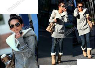 Korea Women Hoodie Jacket Coat Warm Outerwear hooded Zip Fashion warm