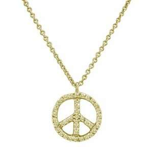 Meira T 14K Yellow Gold Diamond Peace Sign Necklace