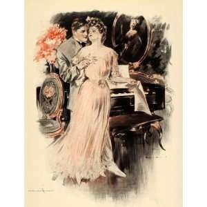 1908 Henry Hutt Victorian Woman Man Lovers Piano Print