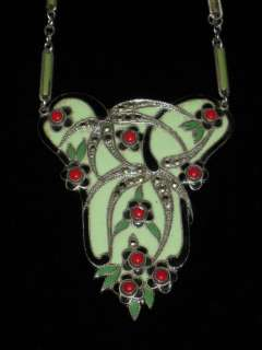 Antique Art Deco Marcasite & Enamel Silver Lavalier Necklace