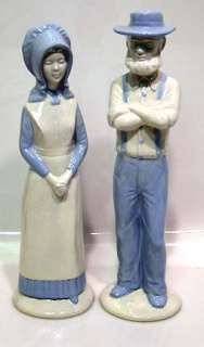of Large Ceramic Figures AMISH Man & Woman, approx. 12 inches tall