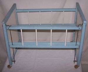 Vintage Wooden Blue Baby Doll Bed Crib