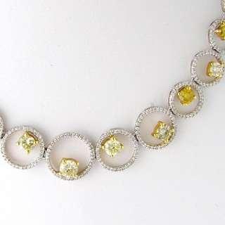 24 CT Yellow & White Diamond Necklace 18k White Gold