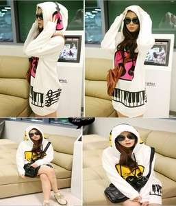 2011 Korean Womens Cute Hoodie Pullover Sweatshirt Outerwear Long