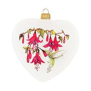 Hummingbird Heart Glass Ornament