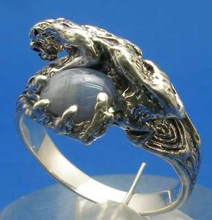 Cougar Ring Blue Star Sapphire, Sterling Silver, tiger
