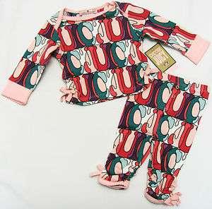 JUICY COUTURE Baby Girls Pink/Purple/Green Multi Print Pajama Shirt