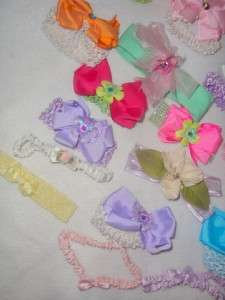 HUGE LOT 27 NEW BABY GIRLS HEAD BANDS HAIR BOWS LOTS OF COLORS AND
