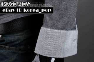 korea_pop Mens Slim fit Double layered shirts knit casual t shirts