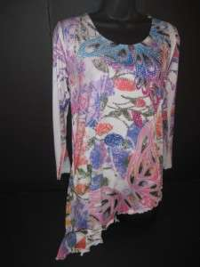 New Sexy Kokomo Resort Wear womens Rhinestones Butterflies top tunic M