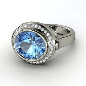 Racetrack Ring, Oval Blue Topaz 14K White Gold Ring with