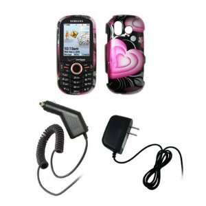 Samsung Intensity U450   Premium Pink and Black Hearts Design Snap On