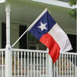 Texas 3x5 foot Tornado porch flag kit   white anti furl