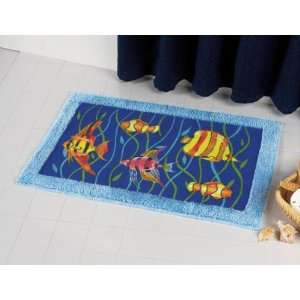 FISH ocean fringed BATH RUG bathroom mat home decor  Home