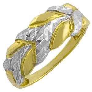 Yellow & White Gold Diamond Cut High Polish Leaf Ring Size 7 Jewelry