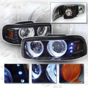 99 06 GMC YUKON DENALI SIERRA Dual Halo Projector Headlights   Black