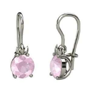 Gem Flame Earrings, Round Rose Quartz Sterling Silver