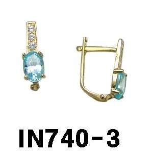14k Lever Back Earrings with Light Blue Stone (yellow gold) Jewelry