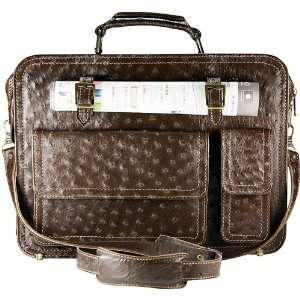 Genuine Ostrich Leather Briefcase / Laptop Case Jewelry