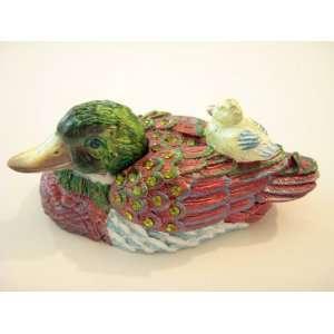 Mandarine Duck W/chick Trinket Treasure Box