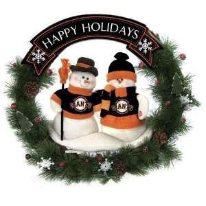 San Francisco Giants MLB Snowman Christmas Wreath (20 inch