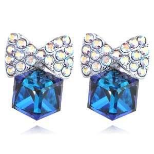 Capri Blue Sapphire Tone AB Cubed Fancy Bows Swarovski Crystal Element