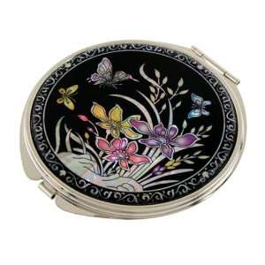 Mother of Pearl Yellow Purple Pink Orchid Flower Design Double Compact
