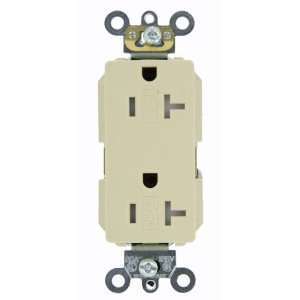 Receptacle, Straight Blade, Commercial Grade, Self Grounding, Ivory