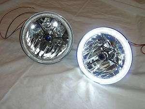 Tri Bar Blue Dot Street Hot Rat Rod H4 Headlights w/ LED Halo Turn