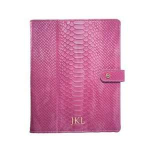 Personalized Python Embossed Leather iPad Case   Taupe Electronics