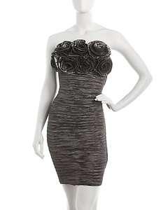 Romeo & Juliet Couture Rosette Taffeta Dress, Charcoal WWE226