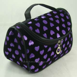 Cosmetic Make up Hand Case Bag Heart Pattern #WH purple